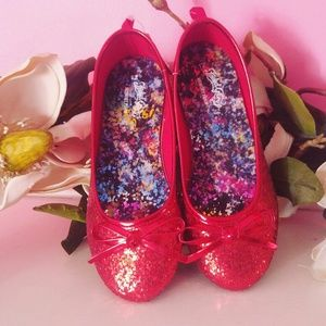 NEW cute sparkle kids red flats